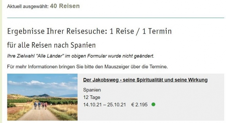 El Camino de Santiago, en el catálogo de otoño del operador alemán Biblische Reisen
