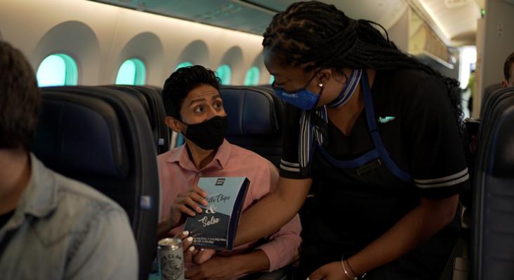 Menú a bordo de avión de United