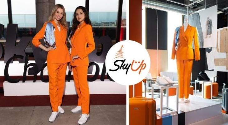 La aerolínea que ha desterrado los tacones y las faldas. Fotos & Logo vía Facebook (SkyUp airlines).