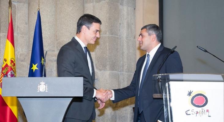 En la imagen, Pedro Sánchez, presidente del Gobierno de España y Zurab Pololikashvili, secretario general de la OMT   Foto: Zurab Pololikashvili, vía Twitter