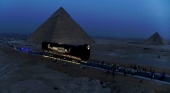Traslado de la barca funeraria de Keops Foto Ministerio de Turismo y Antiguedades de Egipto