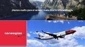 Norwegian pone a la venta su programa de verano de 2022 con 40 rutas entre Escandinavia y España. Logo vía LinkedIn & Landing page de norwegian.com