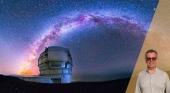 Cielo nocturno desde el observatorio del Roque de los Muchachos, La Palma  Foto Instituto de Astrofísica de Canarias (IAC) de fondo & Enrique Luis Larroque