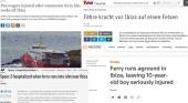 El accidente del ferry FRS en Baleares llega a los medios internacionales
