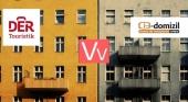 Der Touristik se asocia con e-domizil  para ofrecer un mayor número de casas de alquiler vacacional. Logos Der Touristik & e-domizil.