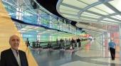 Ignacio Vasallo y de fondo el aeropuerto de Chicago, considerado un Hub Intercontinental. Foto de Wikimedia Commons (CC BY SA 2.0)