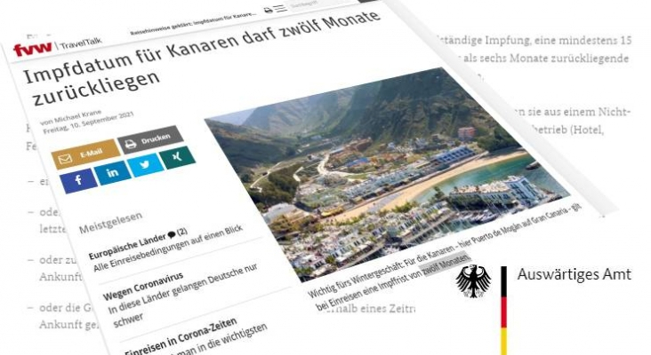 Satisfacción en Alemania: Canarias aumenta la validez del certificado Covid de 8 a 12 meses
