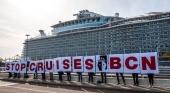 El sector de los cruceros se defiende ante las acusaciones de contaminación. Foto Protesta de Ecologistas en Acción