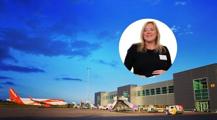 Aeropuerto de Luton, sede central de Easyjet. Foto de fondo de london luton.co.uk. Sophie Dekkers vía LinkedIn.
