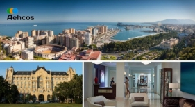 Málaga requiere hoteles grandes y cadenas internacionales para afianzar turismo MICE, según AEHCOS. Foto izq. abajo Wikimedia Commons (CC BY 4.0). A la derecha, recepción de un hotel de Mandarin Oriental. Logo AEHCOS
