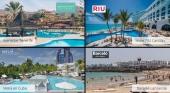 Las hoteleras españolas centran ahora el foco de la recuperación en Canarias y el Caribe. Imágenes de hoteles & logos vía barcelo.com|melia.com|riu.com|iberostar.com