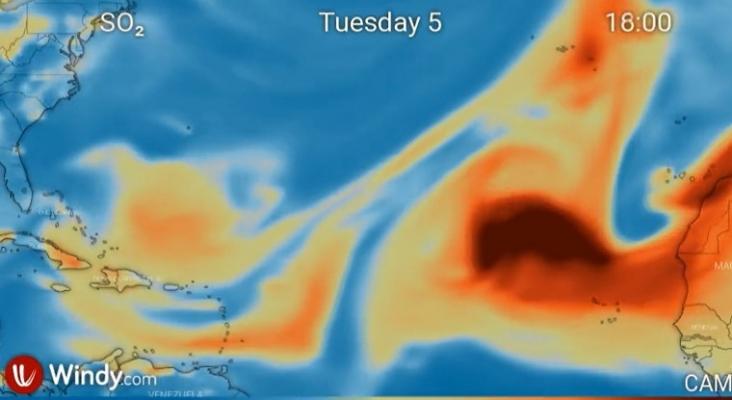 La calima y la nube de ceniza del volcán de La Palma llegan hasta el Caribe   Foto: Windy.com