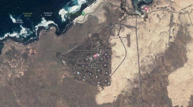 Urbanización Origo Mare en Majanicho, Fuerteventura. Foto de Google Maps.