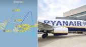 Recorrido que realizó el avión de Ryanair Foto Controladoresaéreos y Ryanair
