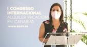Yaiza Castilla en su comparecencia en el I Congreso Internacional de Alquiler Vacacional | Fuente: Facebook (@yaiza.castillaherrera)