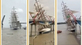 Espectacular accidente de velero de la Marina de Brasil contra un puente