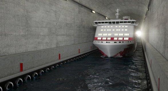 Tunel para barcos en Noruega
